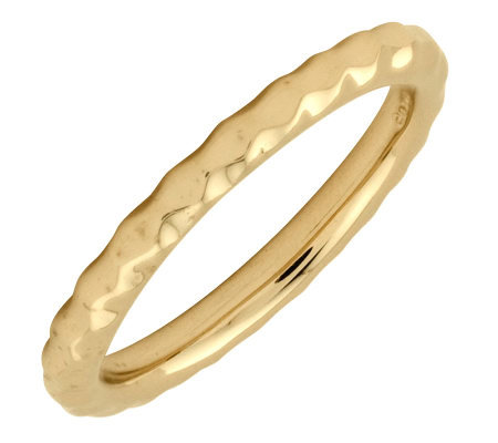Simply Stacks Sterling 18K Yellow Gold-Pltd 2.25mm Hammer Ring