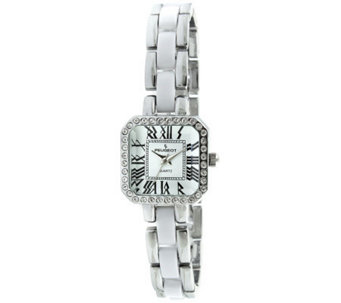 Peugeot Women's Square Silvertone White AcrylicWatch - J307206