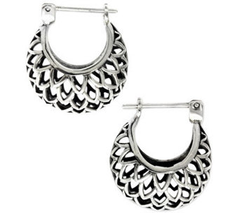"Novica Artisan Crafted Sterling ""Lotus"" Hoop Earrings - J307506"