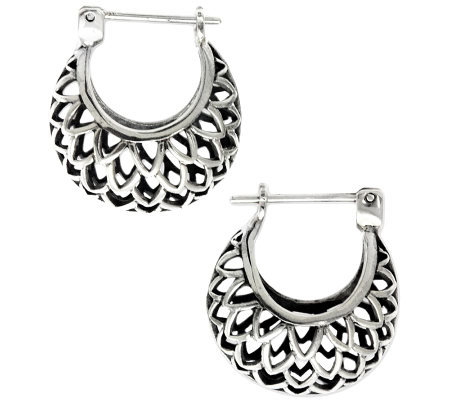 "Novica Artisan Crafted Sterling ""Lotus"" Hoop Earrings"