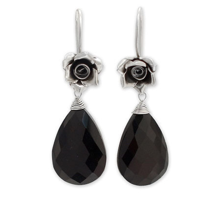 "Novica Artisan Crafted Silver ""Roses"" Onyx Earrings"