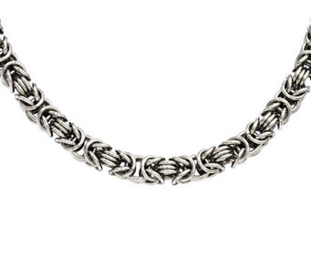 "Stainless Steel 22"" Fancy Byzantine Chain Necklace - J309706"