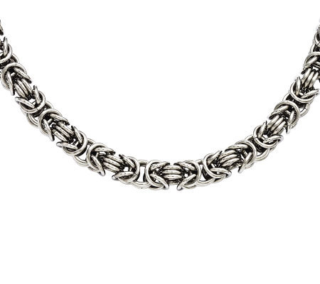 "Stainless Steel 22"" Fancy Byzantine Chain Necklace"
