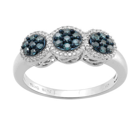 Blue Diamond Cluster Ring, Sterling, 1/2 cttw,by Affinity