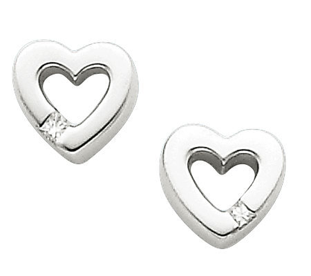 Sterling Diamond Accent Heart Stud Earrings