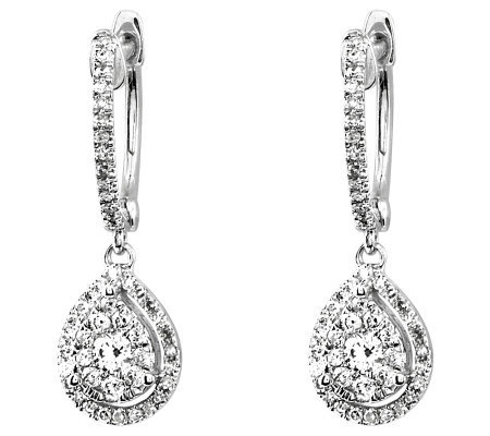 Diamond Hoop w/ Teardrop Dangle Earrings, 14K,by Affinity