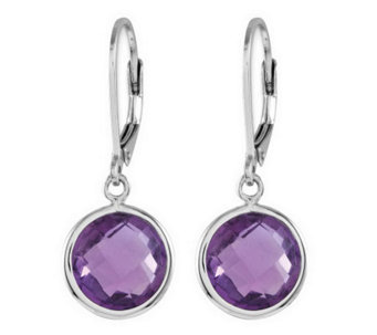 Sterling Faceted Round Gemstone Lever Back Earr ings - J313806