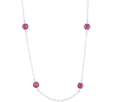 "Judith Ripka Sterling Ruby Triplet & Diamonique36"" Necklace"