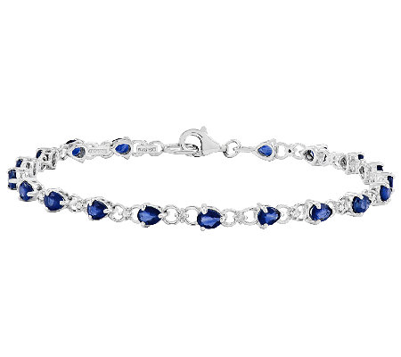 "Sterling 7-1/2"" Teardrop-Shaped Gemstone TennisBracelet"