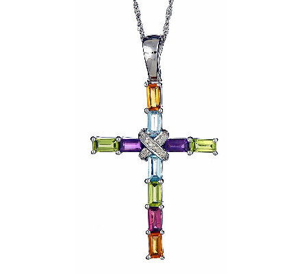 Sterling 2.70 cttw Multi-Gemstone & Diamond Pendant with Chain