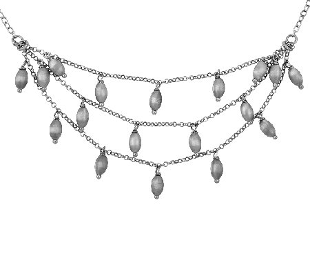 Sterling Satin Dangle Bead Triple-Strand Necklace