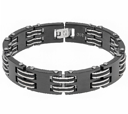 Men's Stainless Steel Black & Silvertone Bracelet