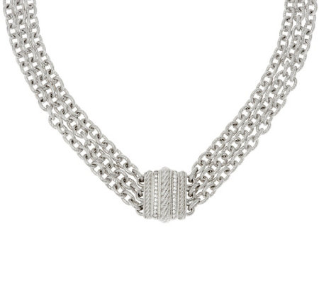 "Judith Ripka Sterling 20"" Multi-strand Verona Necklace 129.0g"
