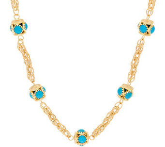 "Arte d' Oro 18"" Turquoise Station Woven Chain Necklace 18K, 18.5g - J321006"
