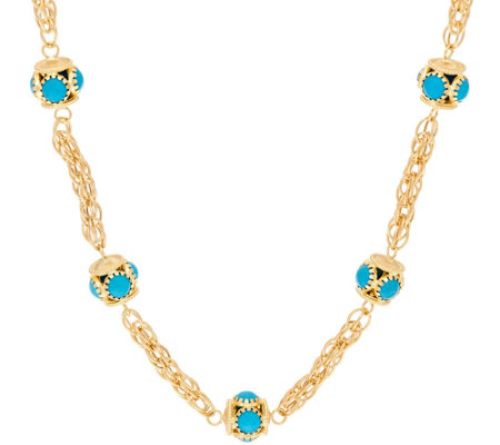"Arte d' Oro 18"" Turquoise Station Woven Chain Necklace 18K, 18.5g"