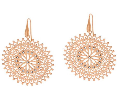 Bronze Round Cut-out Crystal Drop Earrings by Bronzo Italia