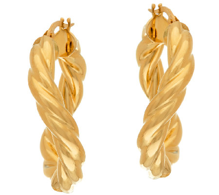 "Vicenza Gold 1"" Twisted Round Tube Hoop Earrings, 14K"