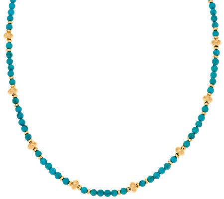 "Veronese 18K Clad 36"" Turquoise Bead Station Necklace"