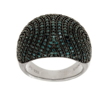 """As Is"" Pave' Color Domed Diamond Ring, Sterling, 1.00 cttw Affinity"
