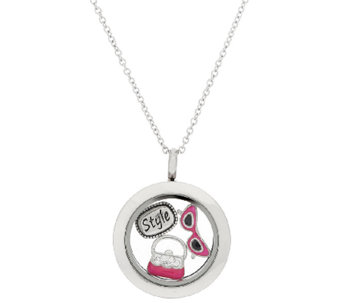 Stainless Steel Shaker Charm Pendant with Chain - J324206