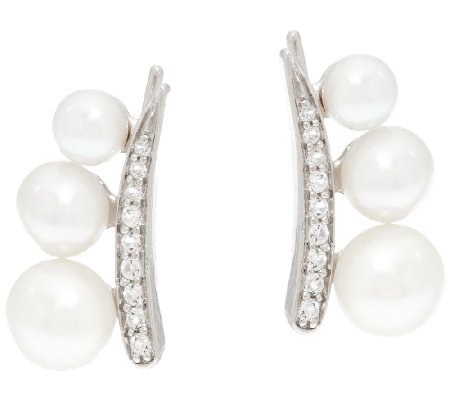 Honora Cultured Pearl Sterling Ear Climber Earrings