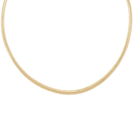 "Vicenza Gold 16"" Woven Omega Style Necklace, 14K Gold"