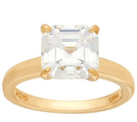 Diamonique 3.00 cttw Solitaire Ring, 14K Yellow Clad