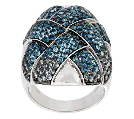 """As Is"" 4.00 ct tw Blue Topaz Pave' Woven Sterling Ring"