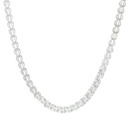 "Sterling Silver Sparkle Oval Disc 24"" Chain, 15.20g by Silver Style"