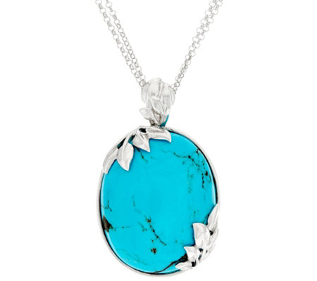 "Bold Kingman Turquoise Leaf Design Sterling Silver Enhancer on 18"" Chain"