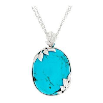Bold Kingman Turquoise Leaf Design Sterling Silver Enhancer on 18 Chain