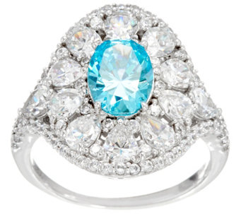 Diamonique & Simulated Apatite Ring, Platinum Clad - J330106