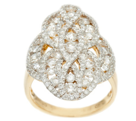 Elongated Round Diamond Ring, 14K, 2.35 cttw, by Affinity