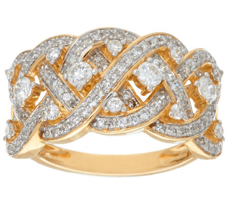 """As Is"" Wide Braided Diamond Ring, 14K Gold 3/4 cttw, by Affinity"