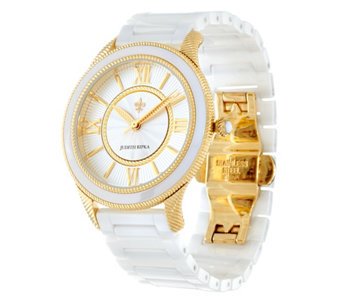Judith Ripka Stainless Steel Goldtone Newport Ceramic Watch - J331606