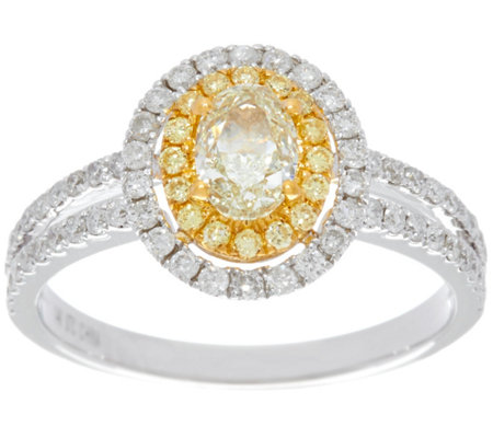 """As Is"" Natural Yellow & White Diamond Ring 14K Gold 1.00ct by Affinity"