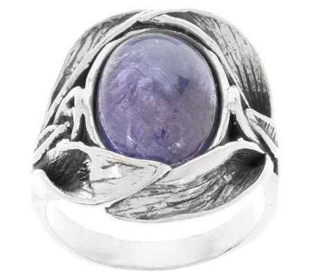 """As Is"" Or Paz Sterling Tanzanite Cabochon Textured Ring"