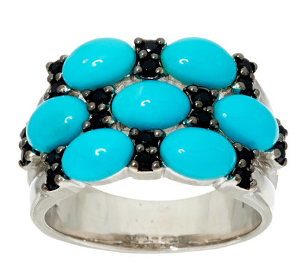"""As Is"" Sleeping Beauty Turquoise & Black Spinel Sterling Ring"
