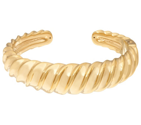 14K Gold Large Polished Bold Sculpted Cuff Bracelet