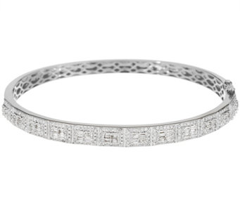 Baguette & Round Diamond Average Bangle, 14K, 1.25 cttw, by Affinity - J335006