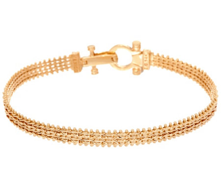 "Imperial Gold 6-3/4"" Woven Wheat Bracelet, 14K, 10.7g"