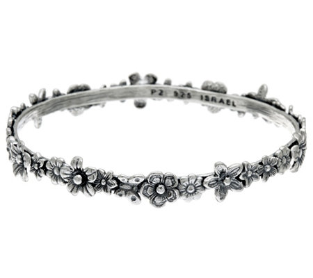 Sterling Silver Multi-flower Slip-on Bangle by Or Paz 18.0g