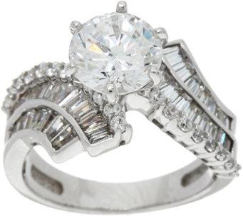 diamonique round and baguette bridal ring platinum clad j347106 - Diamonique Wedding Rings