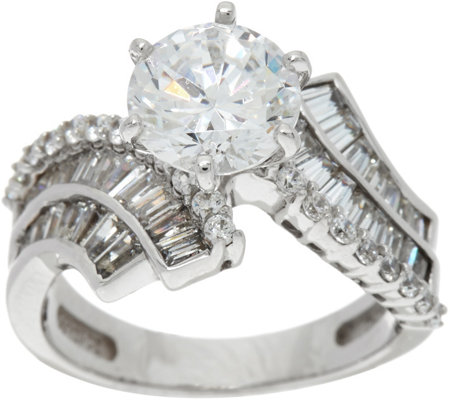 Diamonique Round and Baguette Bridal Ring, Platinum Clad
