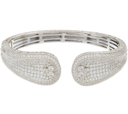 Judith Ripka Sterling Silver Pave Diamonique Cuff Bracelet