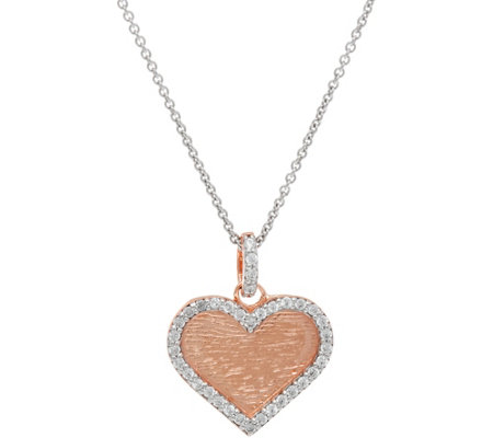 Diamonique Heart, Circle or Cross Pendant w/ Chain, Sterling