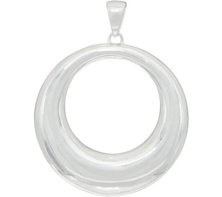 "UltraFine Silver 2"" Polished Open Circle Pendant 3.2g"
