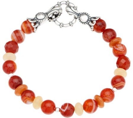 Carolyn Pollack Sterling Silver Multi Gemstone Bead Bracelet