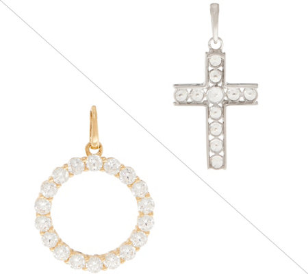 Diamonique Choice of Cross of Circle Pendant, 14K Gold