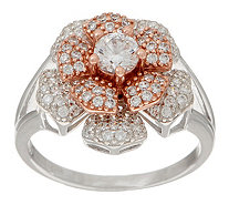 Diamonique Two-Tone Spinning Flower Ring Sterling Silver - J354706